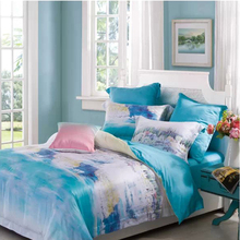 100% tencel whole sale new season designs fresh style reactive print bed sheet set