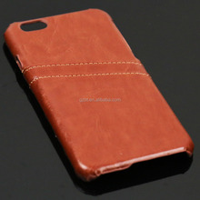 Luxury beige synthetic leather with card holder hard case for i phone 6 6s smart phone