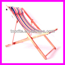 Solid Wooden Folding Beach Chair with Headrest and Three Adjustable Reclining Positions, Foldable Chair and Relaxing Sun Lounger