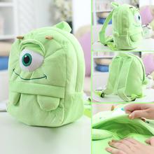 25*19cm(S)/35*28cm(L) lovely customzied green big-eye monster plush animal cartoon backpack for children