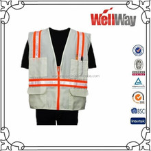 Wholesale China 100% polyester white summer highly visible reflection safety vest with pockets