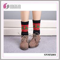 2015 Best Design Warm Christmas Elk Leg Warmers Knitted Socks