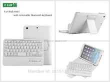 8' V3.0 wireless bluetooth removable keyboard leather cover for ipad mini case