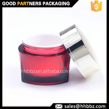 PS clear red unique cosmetic double jar with metal cap 15ml 50ml