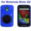 China Wholesale Hybrid Silicone and PC Hard Case for Moto G2 with Ring Holder
