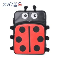 Shockproof pu leather 7 inch tablet case with cute animal embroidered and zipper for teens