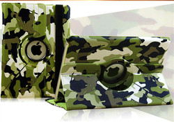 C&T Fashion camouflage leather case for ipad 2 /3/4/5/6 Rotating Stand Flip PU Skin Cover for ipad mini1/2/3/4
