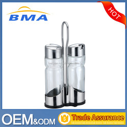 2 Pcs Glass Bottle Comdiment Set Oil and Vinegar Cruet Set With Stainless Rack