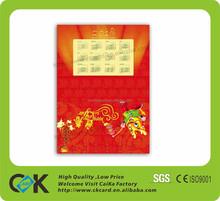 China factory printing customized plastic calendar card pvc