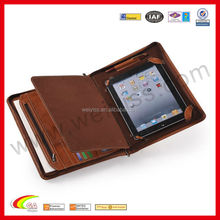 Hot Selling Zippered Leather Padfolio / Leather Portfolio With Notepad Space for iPad 2 and the New iPad 3-Brown