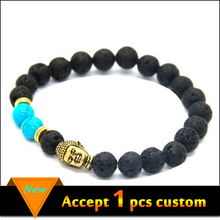 Wholesale jewelry handmade black lava beaded gold buddha head energy bracelet for men