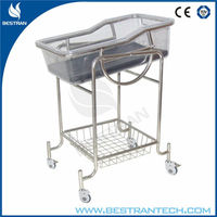 China BT-AB108 Stainless steel hospital baby swinging crib cheap baby bassinet bed price