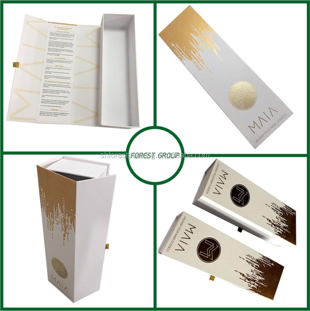 Logotipo personalizado mate magnético caixa de presente de papel para embalagem da extensão do cabelo