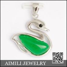 925 plata calcedonia colgante/de ganso naturales joyería de jade sp839