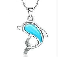 2015 new trandy cute design girls blue opal stone animal shaped dolphin pendant