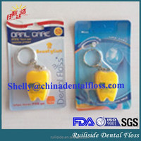 color 20m waxed nylon keychain tooth shaped dental floss