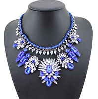2015 shourouk Braided necklace fluorescent color necklace necklaces with big colorful stones N2088-1