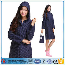 hot selling cute light and thin ladies fashionable long rain coat/women rain wear
