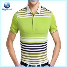 Big World oem custom 2015 New Casual Men's Stylish Slim Short Sleeve Shirts Fit Checked POLO Shirts color combination polo shirt