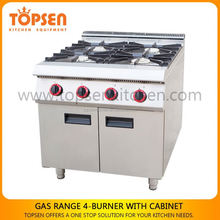 Hot selling commercial 6 burners gas cooking range with oven, 4 burner gas cooking cooker/stove/range/hob