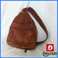 Retro Brown Suede Leather Sling bag Backpack Purse