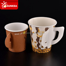 Custom logo printed disposable hot drink paper cup with handle