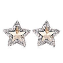 women elegant alloy cuff/ear wrap clip/crystal star earrings