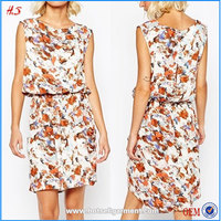 New ladies simple fashion american girls without photos sleeveless dress printed fabric for dress