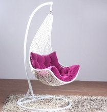 2015 New arrival synthet rattan swing chair/wicker chair/rattan hanging chair with steel frame