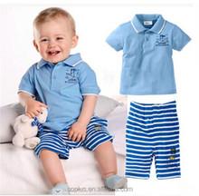 2015 Hot Summer Fashion Designer Blue Shirt Striped Pants Boy Children clothing Sets