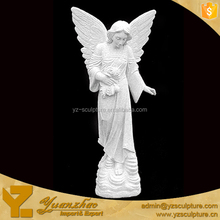 Large Size White Marble Standing Angel Statue for garden decoration