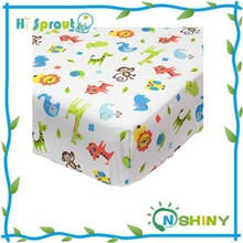 Cartoon printing super soft baby crib fitted sheet