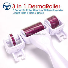 3 in 1 Derma Roller with 3 Separate Roller Heads of Different Needle Count 180c/600c/1200c for eye+face+body