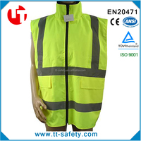 CE 100% polyester large size safety yellow work wear