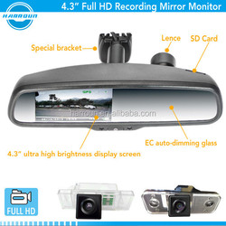 Ambarella A7 solution 1080P dvr rearview mirror monitor with car camera recording