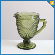 Creative 2015 Solid Color green glass juice pitcher with handle