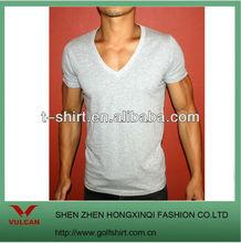 2012 men's fashion 100%cotton blank V-neck collar t-shirt