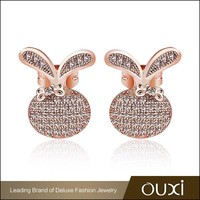 OUXI cheap avenue fancy stud AAA zircon crystal double earrings
