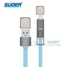 Suoer Colorful Micro USB cable Mobile Phone Audio Input adapter Smart Cable for Iphone5/5s/6/6Plus and Android (DT-011)