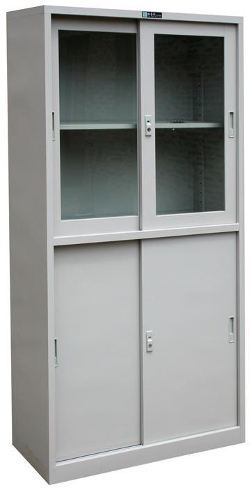 Steel Office Furniture Glass Sliding Door Bookcase File Cabinet