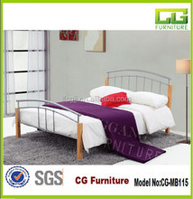 Latest Metal Bed Design With Birch Wood Post from China Factory