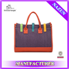 new arrival bump color joining together fashion women canvas hand bag with candy color