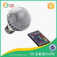 Hot sale PC e27 b22 e14 base home e27 rgb led light bulb with remote controller