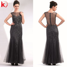 Hot sale elegant black beading lady fashion dress sexy transparent backless party girl dress