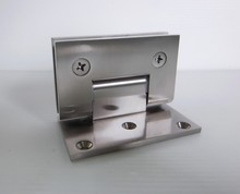 Solid Brass Body Brushed Nickel Finish Glass to Wall Wide Plate and Square Shower Hinge