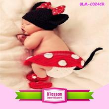 2015 Wholesale baby knitting minne mouse cute animal pattern winter hats fashion baby crochet hats