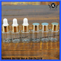 5ml clear glass essential oil bottle for attar with dropper and golden cap