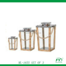 Set of 3 Wood lantern with stainless steal top and rope handle