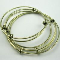 Vintage Silver&Gold plated Wiring Bracelet Bangle beading charms expandable bangles adjustable charm bangle brazaletes ajustable