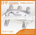 Venta caliente! 4 x1 satélite diseqc interruptor ds-04s 4 1 en tv lnb interruptor para fta dvb-s2 receptor satelital